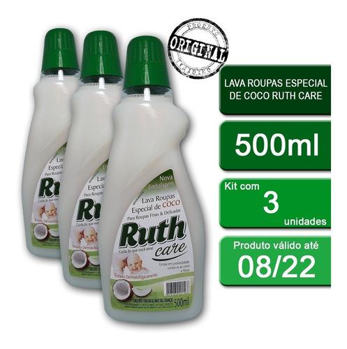 Kit C/3lava Roupas Líquido Ruth Care Coco 500ml