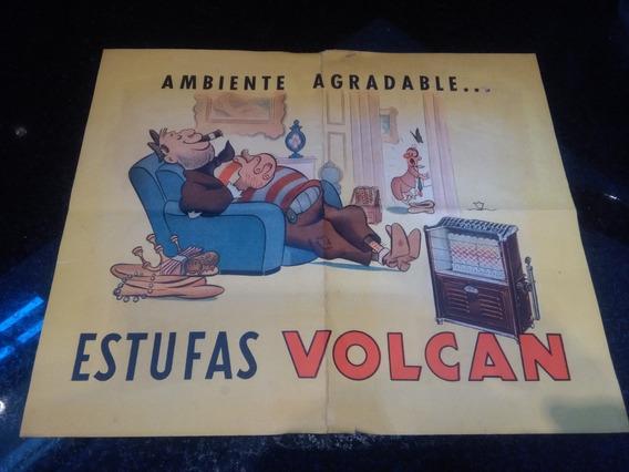 Antigua Publicidad Estufas Volcan No Cartel Enlozado Oferta