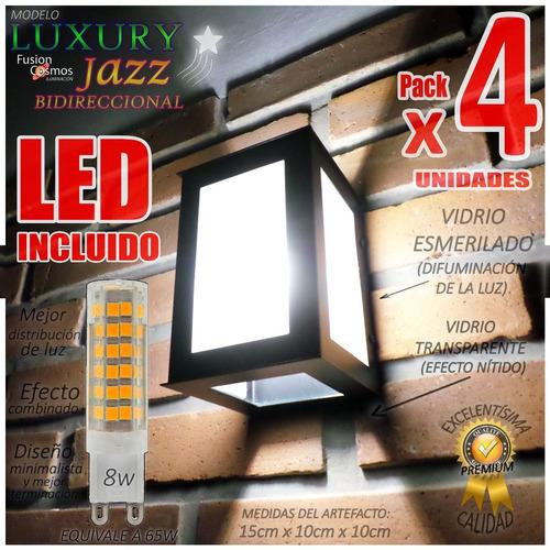 Imagen 1 de 10 de Bañador Led Exterior Para Pared Efecto Luminaria 8w Pack X4u