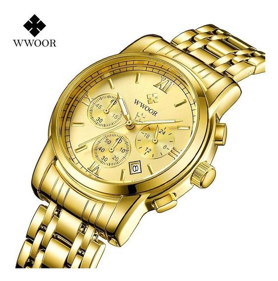 Relógio Analógico Wwoor Masculino Original Executivo