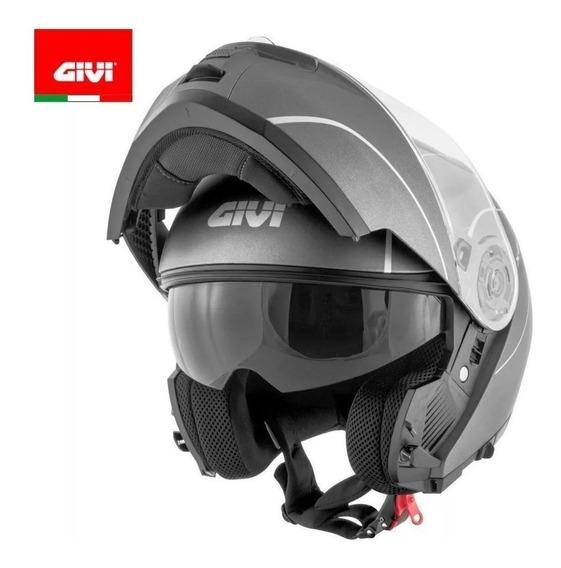 Capacete Givi X21 Titanium Escamoteável Cinza Fosco Robocop