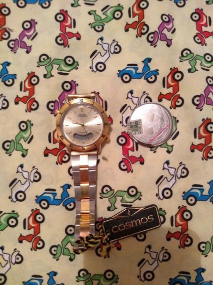 Relógio Cosmos Anos 90 Vintage Dourado E Prata Antigo