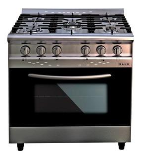 Cocina industrial Saho Jitaku 820 5 a gas plateada/negra puerta visor