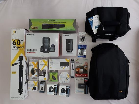 Câmera Canon 80d + Kit De Lentes E Acessórios
