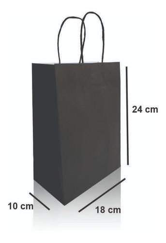 Sacola Papel Kraft Preta 18x24x10 - 50 Unidades