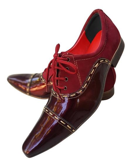 Sapato Masculino Em Couro Vermelho Italiano Ref: 501