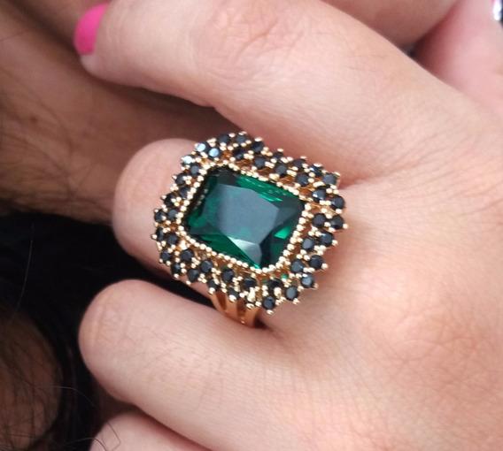 Anel De Pedra Natural Verde Folheado Em Ouro 18k