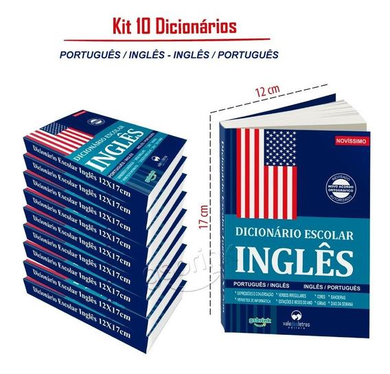 Kit 10 Dicionario Inglês Escolar 12x17cm (atualizado)