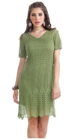 Vestido Dama Verde Devendi De Tejido Con Forro Incluido