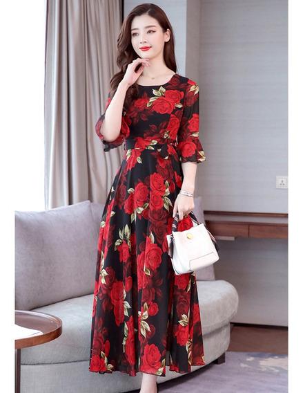 Las Mujeres De Verano Vestido Largo De La Moda De La Flor De