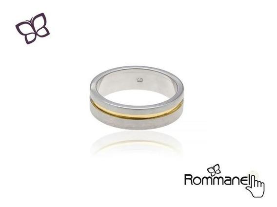 Aliança Compromisso Prata Detalhe Dourado Rommanel 210059