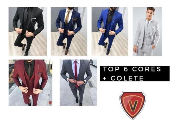 Blazer + Calça Slim + Colete 6 Cores Mega Promoção