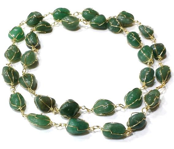 Colar Com Quartzo Verde Pedra Natural Folheado A Ouro Lindo