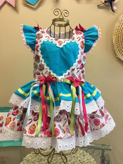 Vestido Coração Festa Junina Infantil