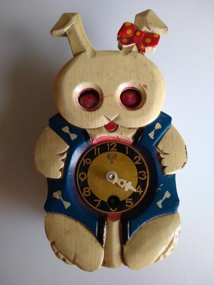 Reloj Antiguo De Pared Conejo De Madera ( Japan) A Reparar