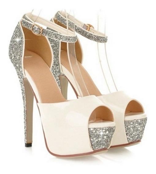 Sandália Importada Feminina Salto Alto Casamento Glitter