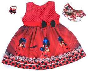 Sapatilha + Vestido Ladybug Miraculous + Tiara