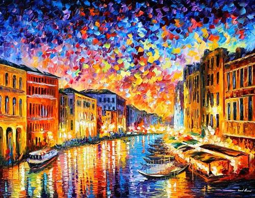Foto Para Quadro Afremov 65x85cm Decorar Obra Veneza Itália