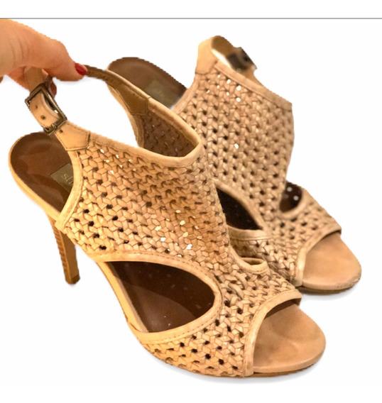 Sandália Shoestock De Couro Nude Tamanho 34