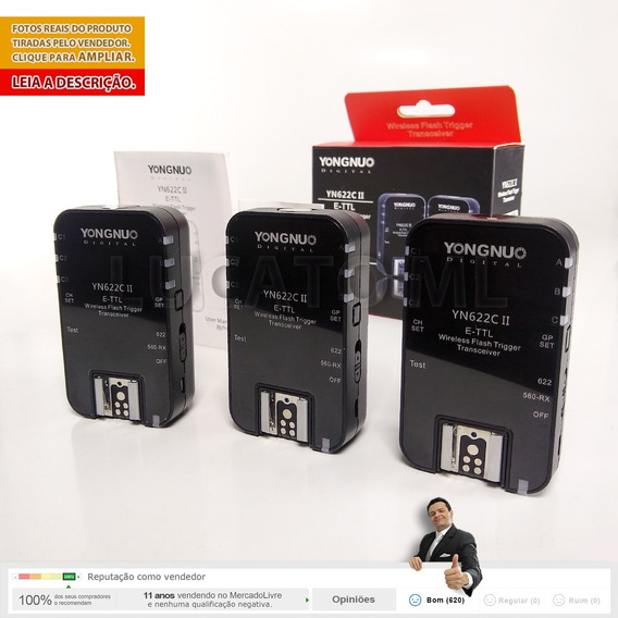 Kit 3 X Radio Flash Yongnuo Yn622cii P/ Canon 12x S/ Juros