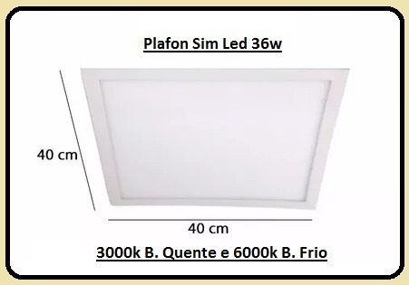 Luminária Slim Led 36w 40x40cm Embutir 3000/4000/6000k