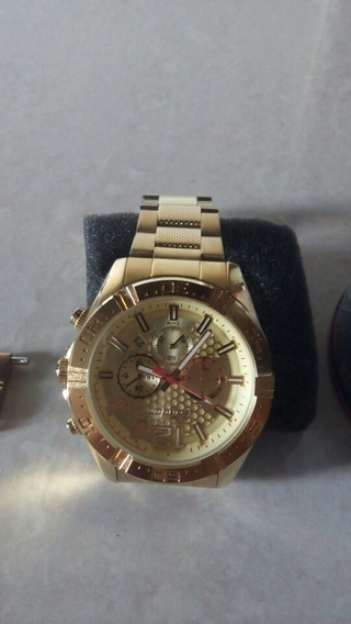Relógio Contor Banhado A Ouro Prova A Água 1 Ano De Garantia