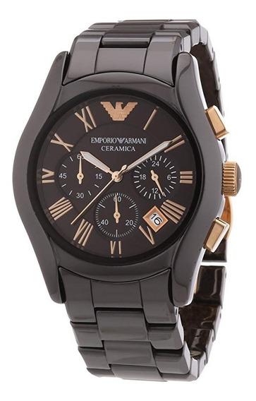 Relógio Emporio Armani Ar1446 Ceramica Chronograph Brown Cer