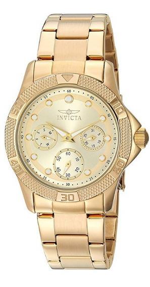 Relógio Invicta Feminino Original Modelo 21776 - Dourado