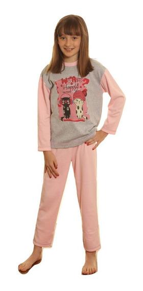 Pijama Nena Invierno Interlock Combinado Con Estampa Cuotas