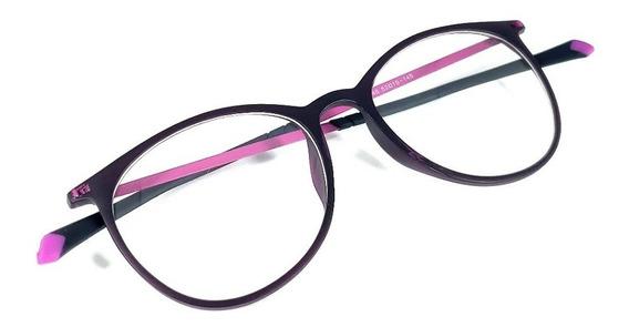 Óculos Armação De Grau Geek Redondo Titanium Feminino