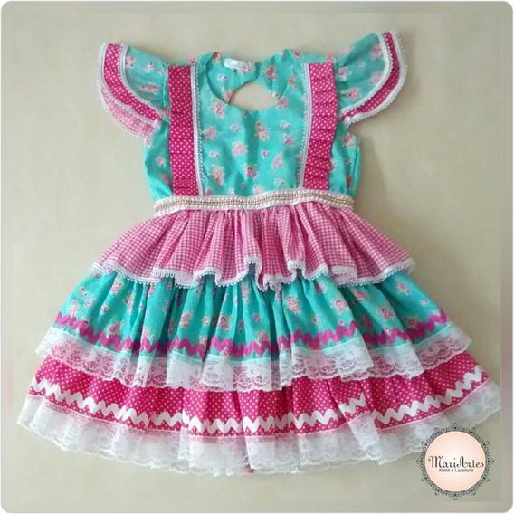 Vestido Junino Infantil Caipira Luxo + Laço Cabelo Sem Juros
