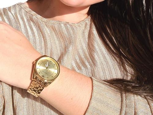 Kit Relógio Brinco E Colar Feminino Lince Lrgh075l Nf-e