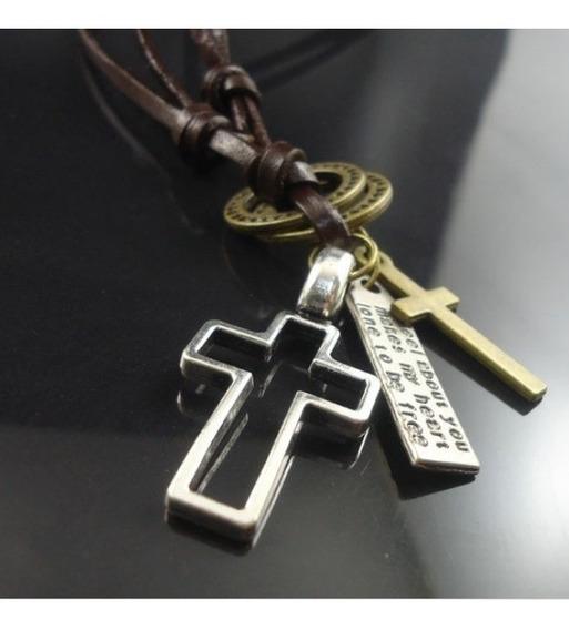 Colar Cordão Masculino Feminino Couro Cruz Crucifixo Pingent