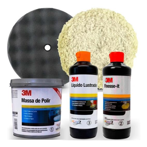 Kit Polimento 3m Massa Polir + Finesse-it + Lustrador +boina
