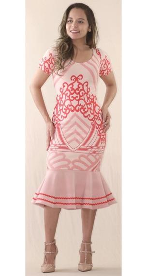 Vestido Midi Peplum,jacquard C/relevo Lycra,moda Evangélica