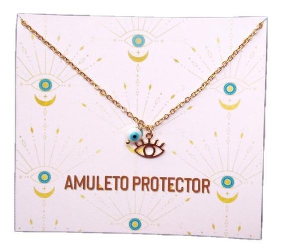 Collar De Ojo Turco Acero Inoxidable Amuleto Protección