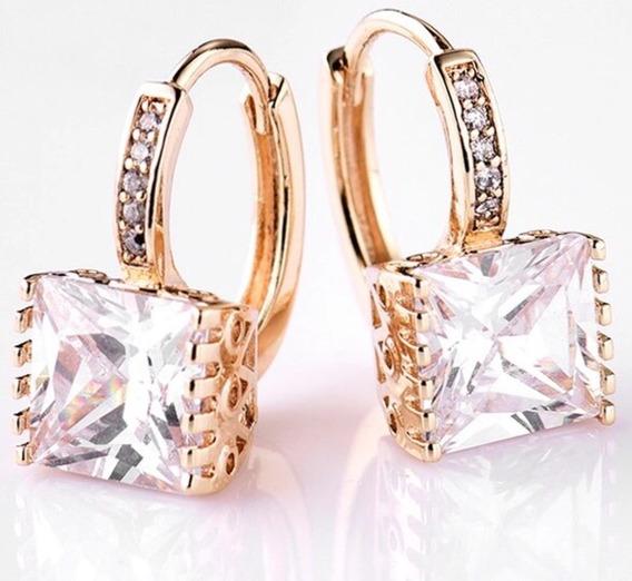Aros Cuadrados Swarovski Elements Cristal Dorados O Plateado