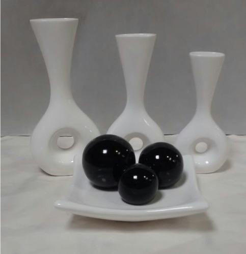Imagem 1 de 1 de Conjunto Jogo Cerâmica Trio Vaso Furo + Fruteira Média