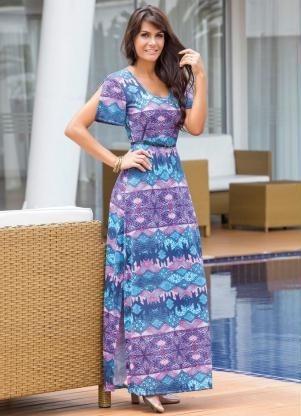 Vestido Lindo Colorido Moda Evangélica Frete Grati