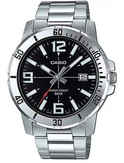 Relógio Casio Masculino Prata Preto Azul Mtp-vd01d-1bvudf