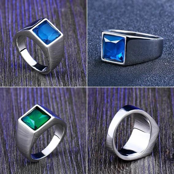 Anel Formatura Pedra Verde Azul Aço Titânio Garantia Cursos