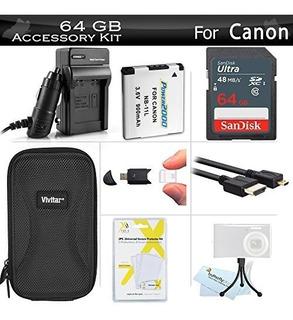 Cámara,64gb Kit De Accesorios Para Canon Powershot Elph ..