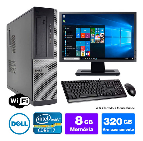 Cpu Usado Dell Optiplex Int I7 2g 8gb 320gb Mon19w Brinde