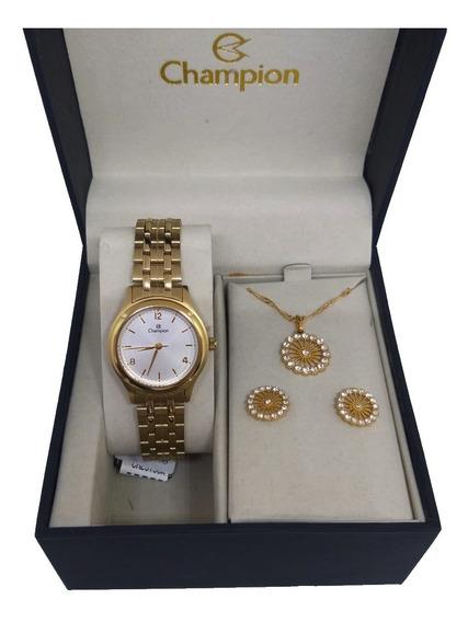 Relógio Feminino Champion Conjunto De Colar E Brincos