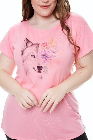 Remera Mujer Estampada Manga Corta Modal Spun T Grande