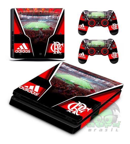 Skin Ps4 Flamengo Pro Fat Slim (kit 1 Console 2 Controles)