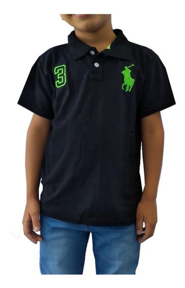 Kit Com 5 Camisa Polo Infantil Masculina Blusa De Gola