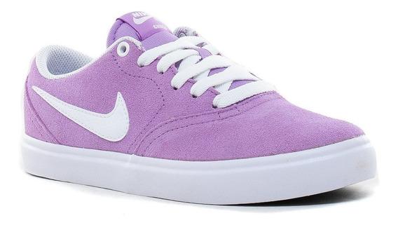 Zapatillas Nike Sb Check Solarsoft Violet Star 501 Gamuza