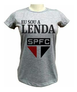 Camiseta São Paulo Spfc Lenda - Baby-look Cinza