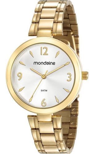 Relógio Mondaine Feminino Mulher Analógico Dourado Pulseira De Aço Fino Pequeno Luxo Com Caixa Garantia + Nota Fiscal